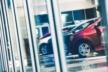 Car Dealer Window Shopping. Dealer Cars Stock. Showroom Exposition.